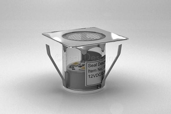 1 x 30mm LED Light Fitting Stainless Steel Square Bezel
