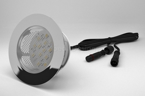 1 x 60mm LED Light Fitting Stainless Steel Round Bezel