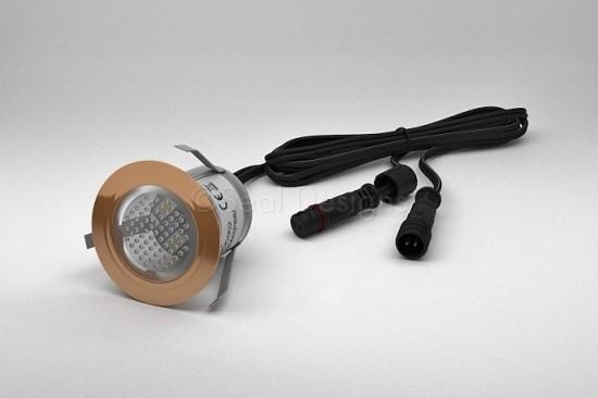 1 x 30mm LED Light Fitting Copper Round Bezel