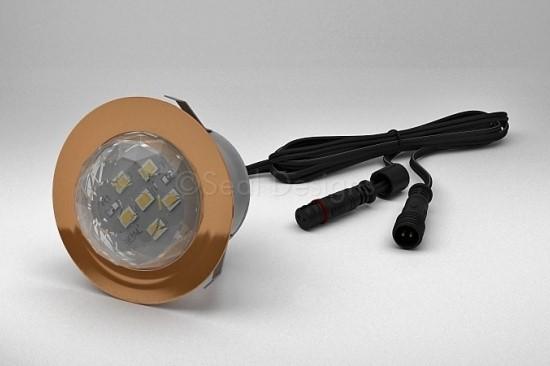 1 x 45mm Crystal Dome Light – Copper Bezel
