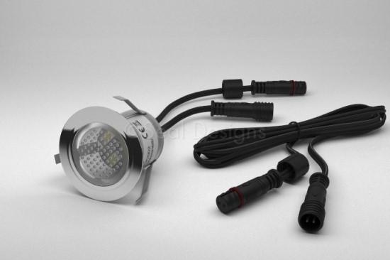 1 x 30mm Easy Change LED Light Fitting Stainless Steel Round Bezel