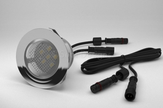 1 x 45mm Easy Change LED Light Fitting Stainless Steel Round Bezel